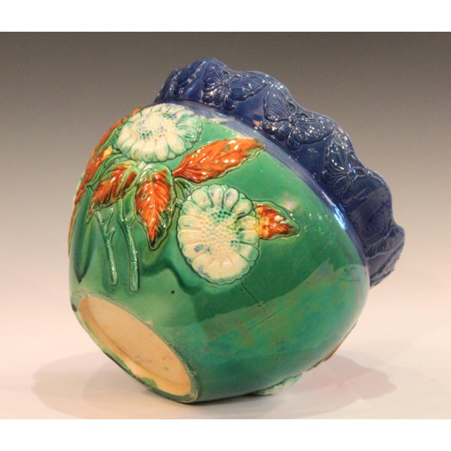 1930s Awaji Pottery Jardiniere Applied Butterflies Blossoms Planter For Sale - Image 5 of 9