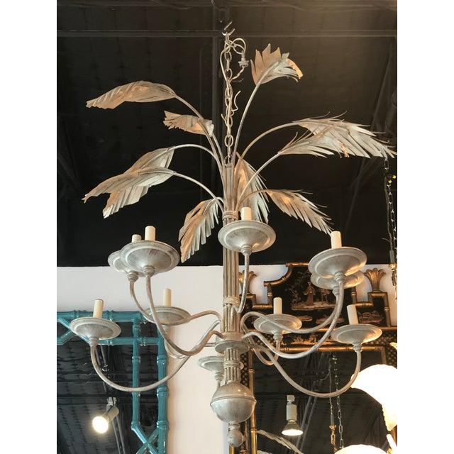 White Vintage Palm Tree Frond Leaf Chandelier For Sale - Image 8 of 12