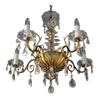 C1920 French Art Deco 8 Light Maison Bagues Brass/Bronze/ Cut Crystal Petal & Flower Chandelier For Sale