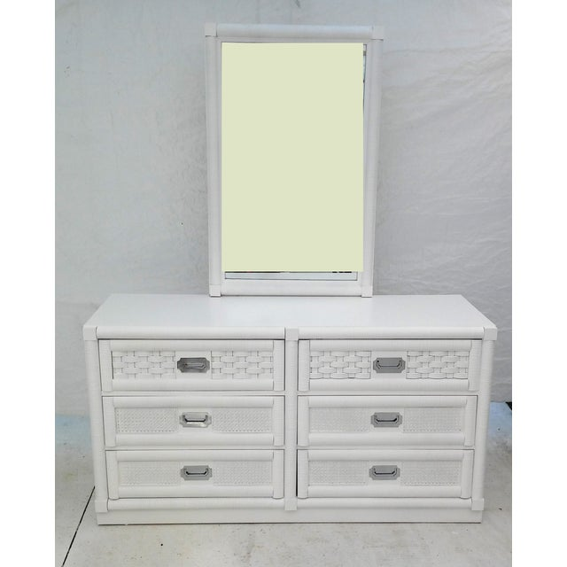 Dixie Lacquered Campaign Wicker Weve Dresser For Sale - Image 9 of 10