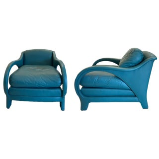 Jay Spectre Tycoon Leather Lounge Chairs- a Pair For Sale