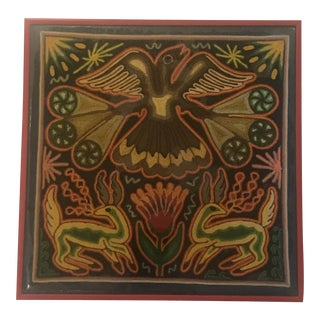 Mexican Huichol Yarn Painting For Sale