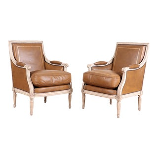 Antique Pair French Leather Bergeres/Armchairs in the Louis XVI Manner For Sale