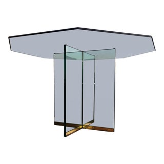 Pace Octagonal Glass Pedestal Dining Table by Leon Rosen For Sale