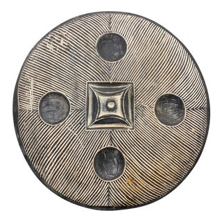 African Zulu Round Shield Wall Sculpture For Sale