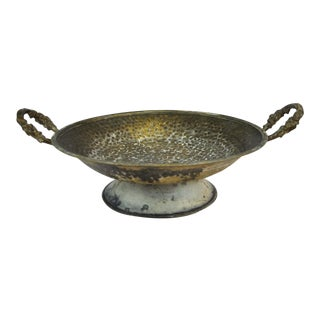 Antique Oval Copper Fruit Bowl With Brass Handles