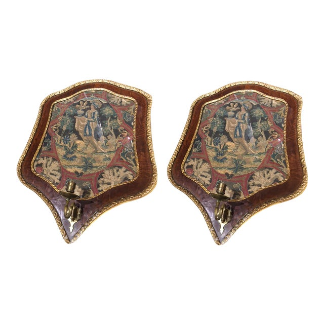 19th Century Needlepoint Wall Sconces - a Pair For Sale