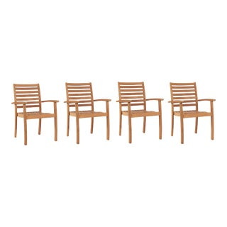 Royal Teak Outdoor Stacking Armchair (Set of 4) For Sale