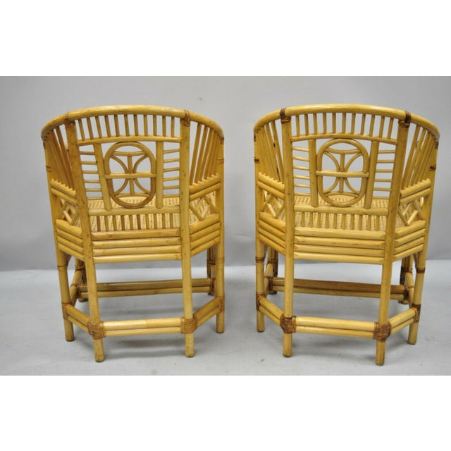 Vintage Brighton Pavilion Style Bamboo & Cane Rattan Arm Chairs - A Pair For Sale - Image 9 of 12