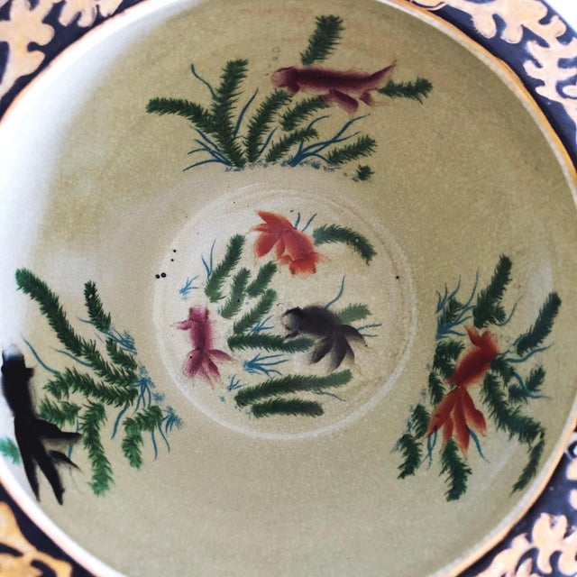 1990s Vintage Satsuma Ceramic Planter With Painted Koi Fish For Sale - Image 5 of 7