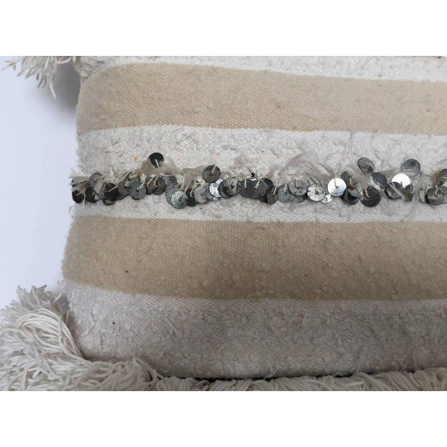 Moroccan Wedding Pillow With Silver Sequins and Long Fringes For Sale - Image 9 of 10