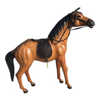 Vintage Equestrian Leather Saddled Horse