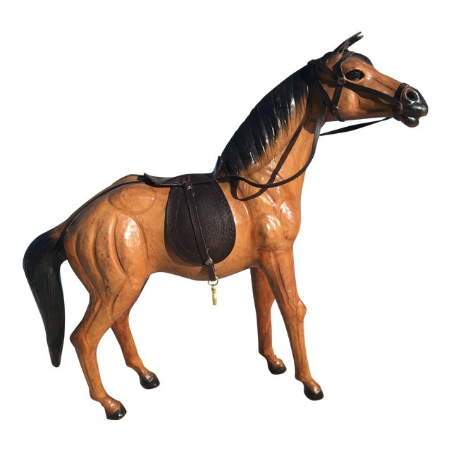Vintage Equestrian Leather Saddled Horse - Image 1 of 10