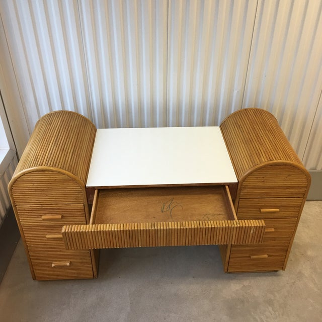 1980s Monumental Split Reed/Bamboo Writing Table or Desk For Sale In New York - Image 6 of 13