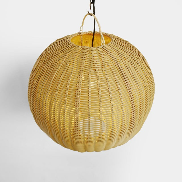 Contemporary Faux Rattan Globe Lantern Small For Sale - Image 3 of 6