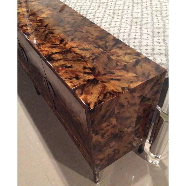 Mid-Century Modern Brass Tortoise Shell Sideboard For Sale - Image 4 of 12