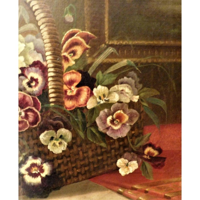 """Late 19th Century Oil on Canvas Still Life """"Basket of Pansies"""" For Sale - Image 5 of 7"""