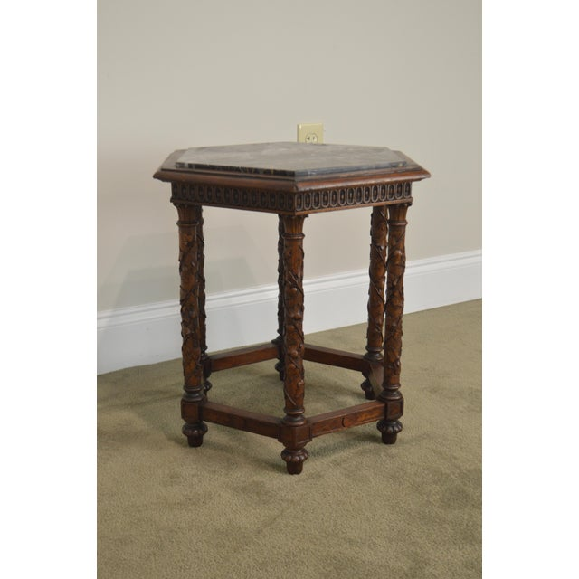 Antique Italian Carved Walnut Hexagon Marble Top Taboret Side Table For Sale - Image 12 of 13