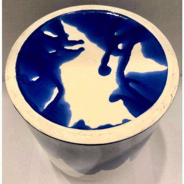 1990s Blue & White Ceramic Vase For Sale - Image 5 of 7