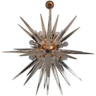 1970s Venetian Glass Snowflake Chandelier For Sale