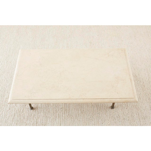 Mid 20th Century Italian Hollywood Regency Marble-Top Brass Cocktail Table For Sale - Image 5 of 13