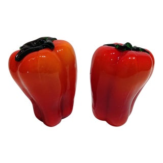 Murano Red Glass Peppers - A Pair For Sale