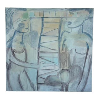 """""""Adam and Eve II"""" Contemporary Abstract Expressionist Oil Painting For Sale"""