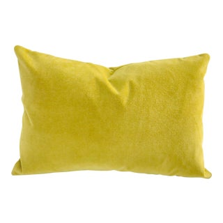 Chartreuse Velvet Feather Down Pillow, 16 X 24 For Sale