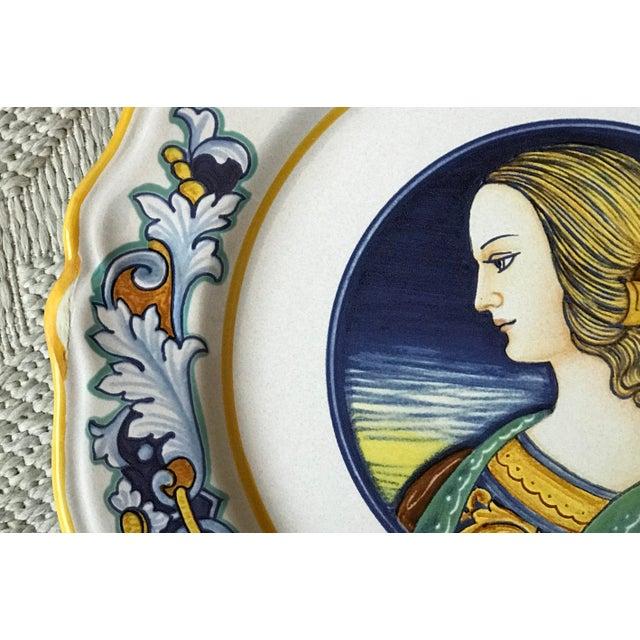 Late 20th Century Deruta Italian Renaissance Woman Ceramic Serving Plate For Sale - Image 5 of 8
