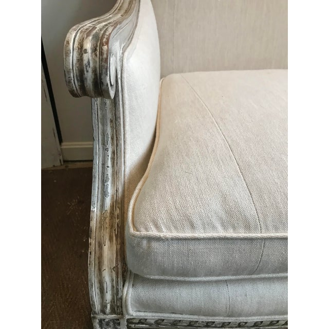 French Louis XVI Style Settee in Gustavian Paint and Linen For Sale - Image 9 of 12