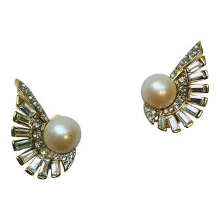 Nina Ricci Winged Crystal and Pearl Earrings For Sale