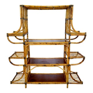 1950s Empire Bamboo Rattan Pagoda Style Shelf