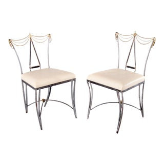 Late 20th Century Mario Villa Neoclassical Brass and Metal Dining Chairs For Sale