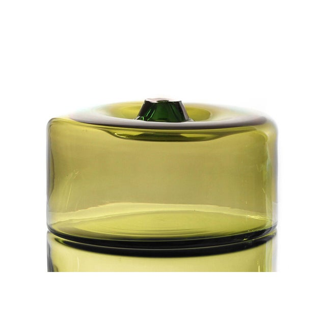 """Abstract SkLO Cylinder Glass Vessel 16""""- Green For Sale - Image 3 of 3"""