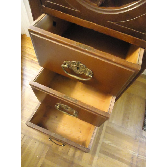 1870- 1893 Antique Nelson Matter & Co. Mahogany Carved Wood File Storage Cabinet For Sale In San Francisco - Image 6 of 11
