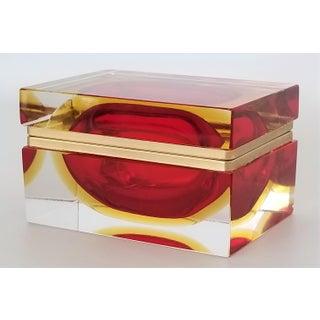 Murano Vintage 1970s Glass Jewelry Box by Alessandro Mandruzzato - Italy Italian Mid Century Modern Palm Beach Chic Tropical Coastal Preview