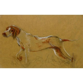 Circa 1960 The Hunting Hound, French Pencil Drawing - Louisette Poirie For Sale