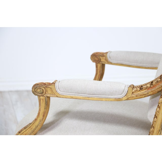Wood French Antique Louis XVI Giltwood Arm Chairs-A Pair For Sale - Image 7 of 12