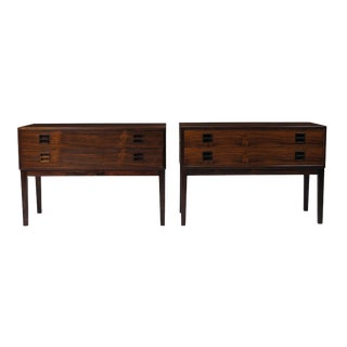 Danish Rosewood Small Cabinets Nightstands - a Pair For Sale