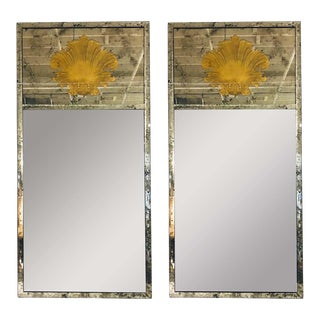 Hollywood Regency Eglomise Wall, Console Pier Mirrors Manner Maison Jansen Pair For Sale