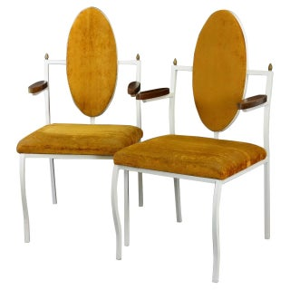 Frederic Weinberg Hollywood Regency Iron Chairs