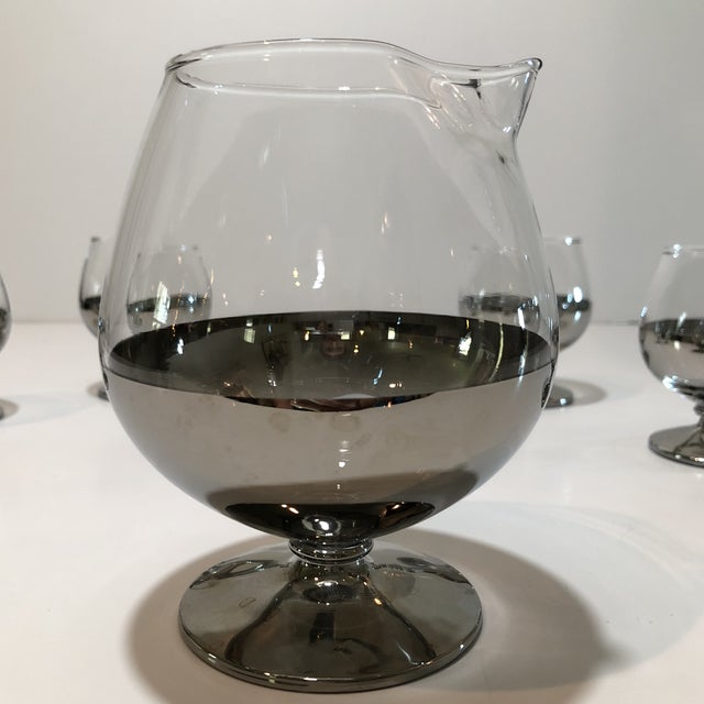 Mid Century Platinum Ombre Decanter and Snifter Glasses - Set of Five For Sale In Houston - Image 6 of 9