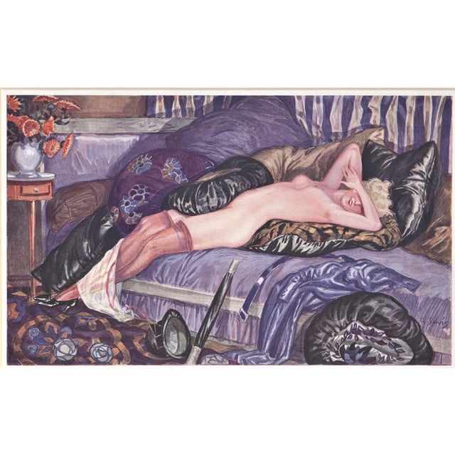 Matted Art Deco Lithograph Reclining Nude on Pillows For Sale In New York - Image 6 of 6