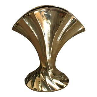Solid Brass Twisted Waterfall Fan Vase