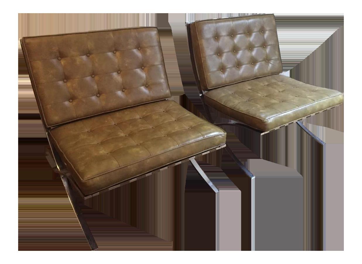 Vintage Pair Of Mid Century Modern Vinyl Barcelona Chairs