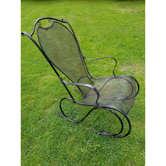 Abstract Russell Woodard Wrought Iron Rocking Chair For Sale - Image 3 of 11