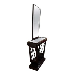 Midcentury Italian Black Lacquer Console and Mirror For Sale