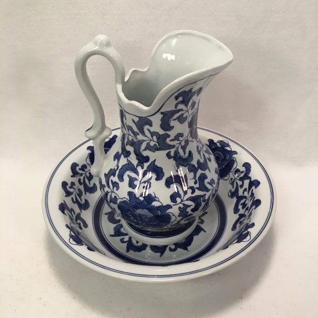 Ashley Belle Cobalt Blue & White Floral Design Pitcher and Bowl Set For Sale - Image 9 of 9