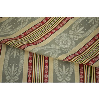 Antique French Ticking Fabric Napoleon Iii c1870 Striped Damask Sewing Upholstery Pillows Projects Quilting For Sale