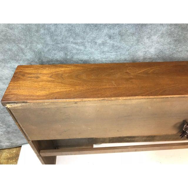 "Mid Century Modern Headboard. Classic ""Saga"" design by Broyhill. Solid wood with beautiful starburst accents. Three..."